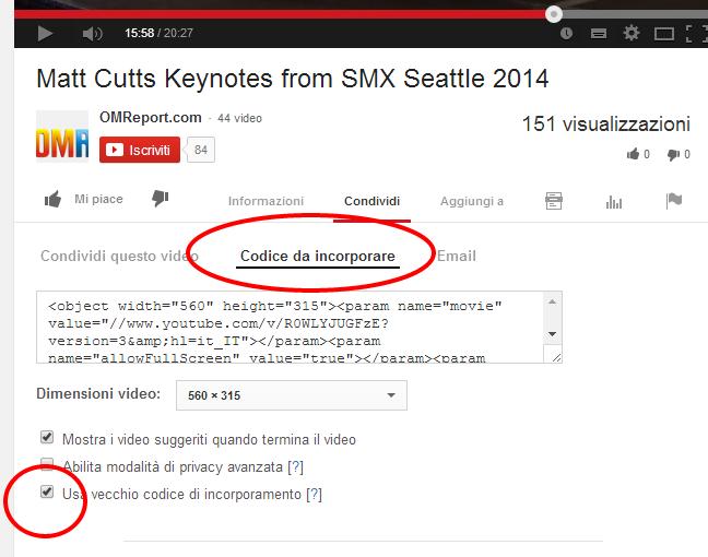 link youtube codice da incorporare minuto esatto
